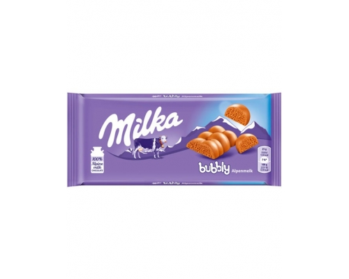 Chocolate Bubbly Leite Milka 90 Gr